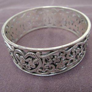 BRIGHTON Wide Bangle Bracelet Silver Tone Hearts F
